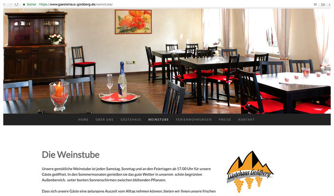 Webseite Gästehaus Goldberg Asselheim / https://www.gaestehaus-goldberg.de/