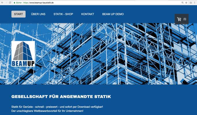 Firmenhomepage BEAMUP -Gesellschaft für angewandte Statik / https://www.beamup-baustatik.de/