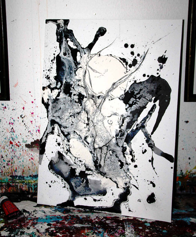 atelier -gemalt in schwarz weiß