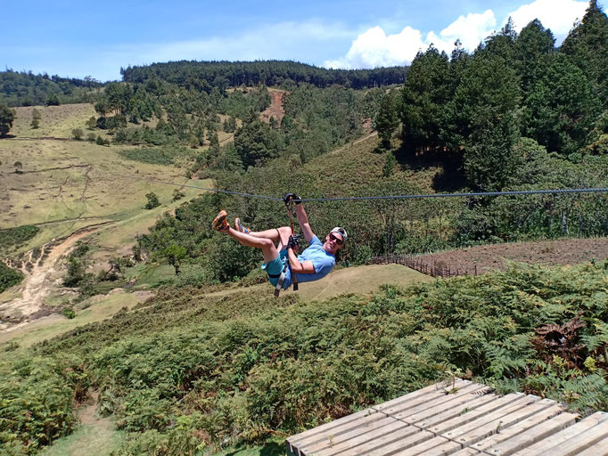 Ziplining as this years' activity during the COMUNDO Country Meeting