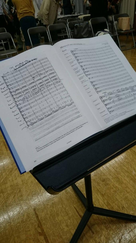 第4回定期演奏会のメイン曲 プッチーニ「グロリア・ミサ」のスコア譜