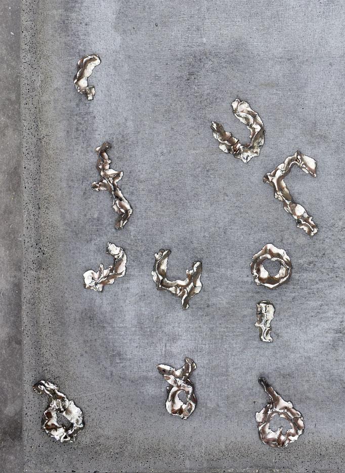 Ohne Titel III, Beton, Eisenoxid, Keramik, 62,5 × 100 cm, 2017 (DETAIL)