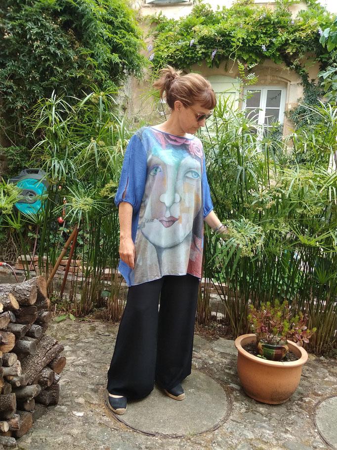 chemise femme a la rose viscose et soie taille unique