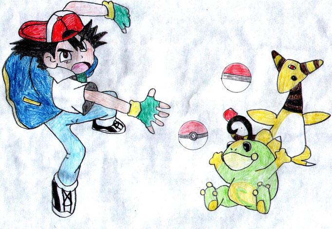 Ash fängt einige Pokémon