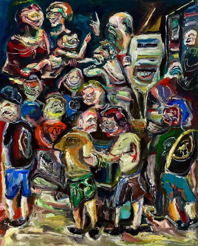 Famiglia con Sant'Anna e San Giovannino, oil on canvas cm 40x50,2018