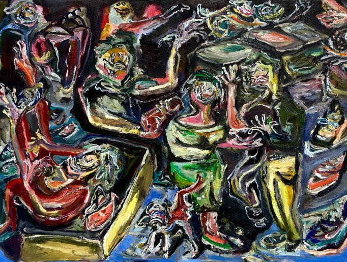 Madre, figlio, cane (exclusive), oil on canvas cm 30x40,2018