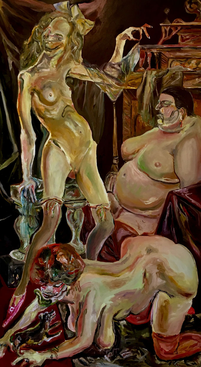 Thermocline Otto Dix (Three women) oil on canvas cm 101,5x181, 2018