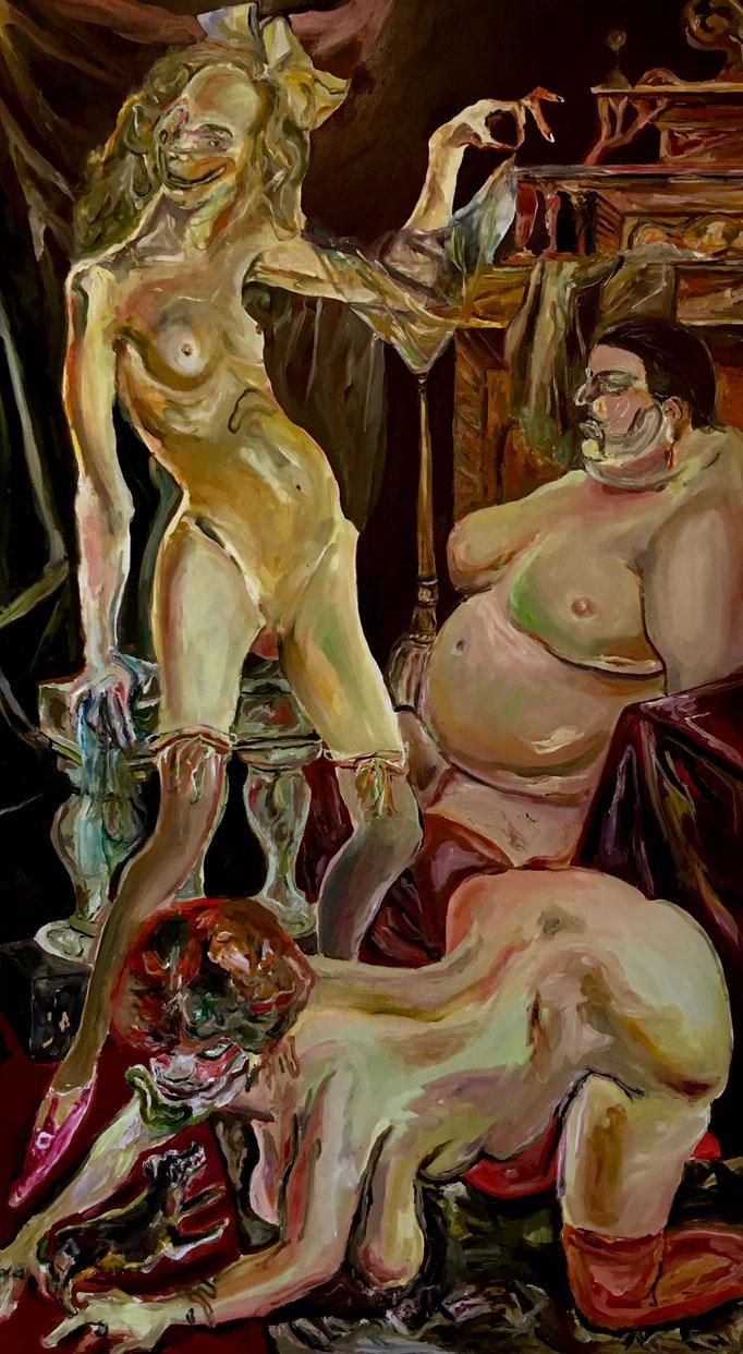 Thermocline Otto Dix (Three women) oil on canvas cm 101,5x181, 2018