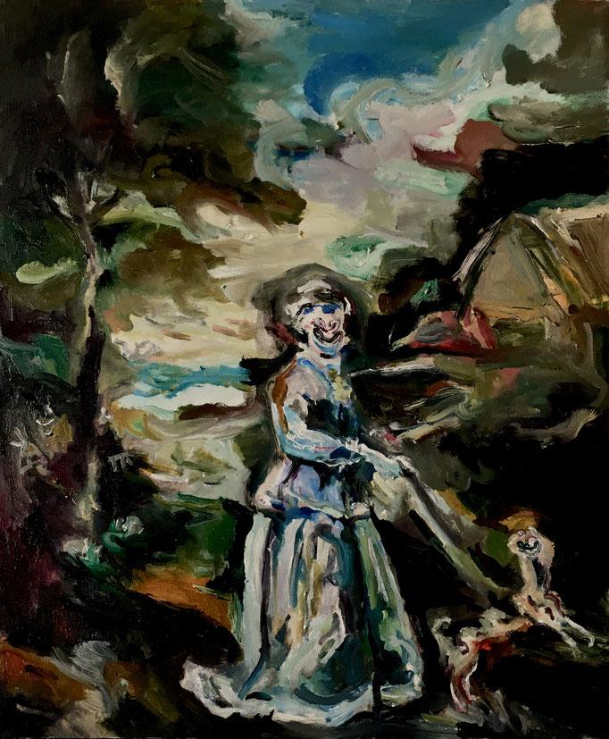 Thermocline Hogarth (Miss Wood), oil on canvas cm 38,1x45,7, 2018