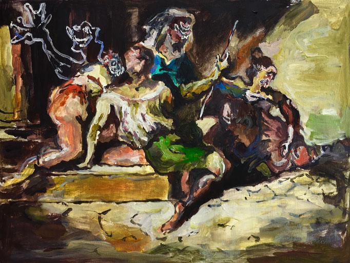 Thermocline Géricault, oil on paper cm 21,9x29,3, 2017