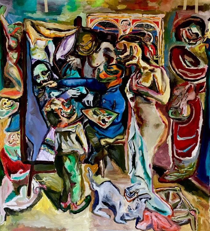 Il pittore e la madre, oil on paper cm 142x156, 2019