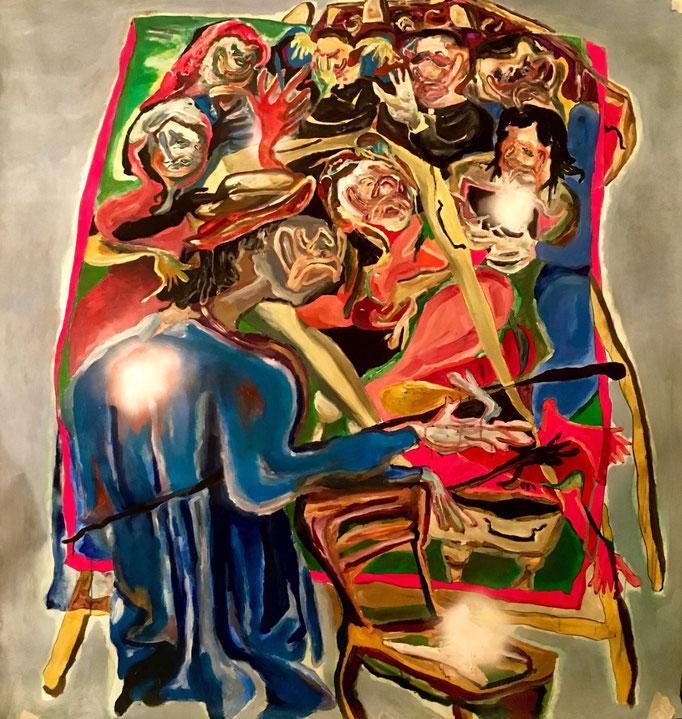 Il pittore e la festa, oil on paper cm 150x150, 2019