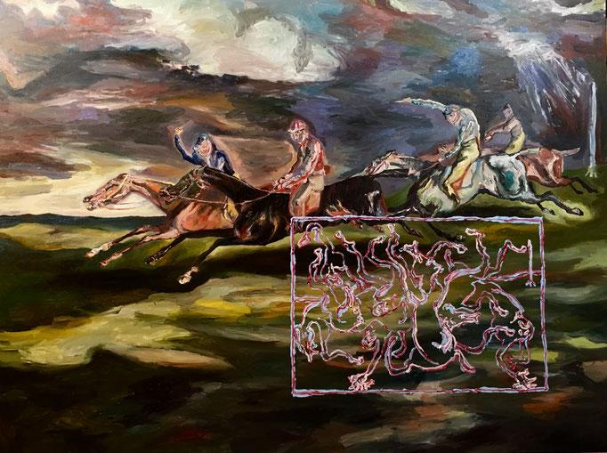 Thermocline Géricault, oil on canvas cm 92x122,5, 2017