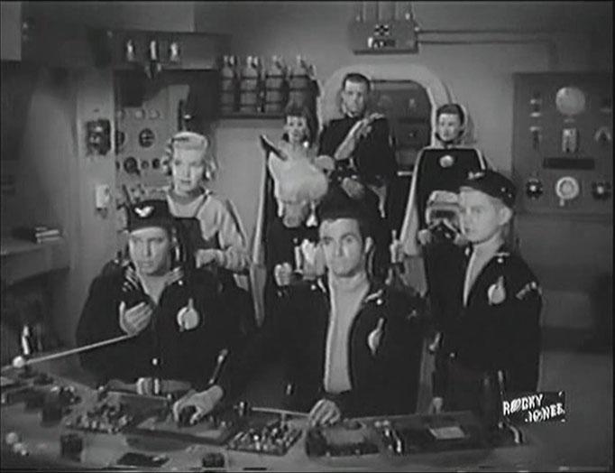 Die Hauptfiguren im Überblick. Vorne von links nach rechts: Rocky Jones, Winky und Bobby. Dahinter links: Vena, rechts: Professor Newton. Im Hintergrund ganz rechts: Cleoanta, die Herrscherin von Ophiuchus