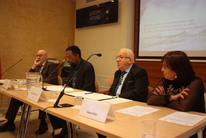 L-R: Mr John Brincat, Ambassador Anthony Hill, Dr Awni Behnam, Prof Simone Borg. Photo Credit: Florian Trinquand, Intern, IOI Malta