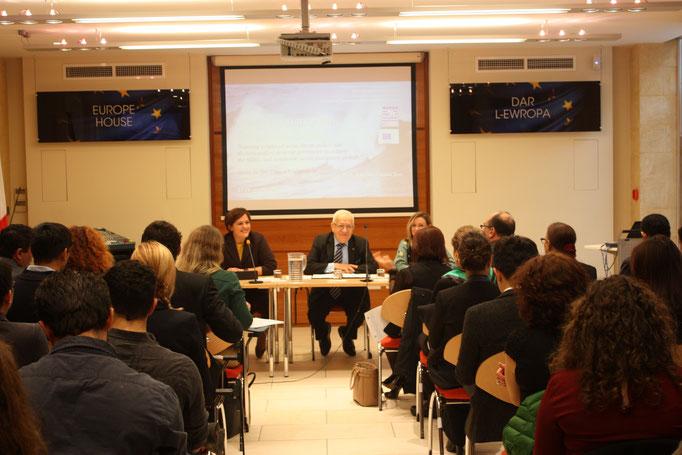 L-R: Dr Elena Grech, Dr Awni Behnam, Ms Antonella Vassallo. Photo Credit: Florian Trinquand, Intern, IOI Malta