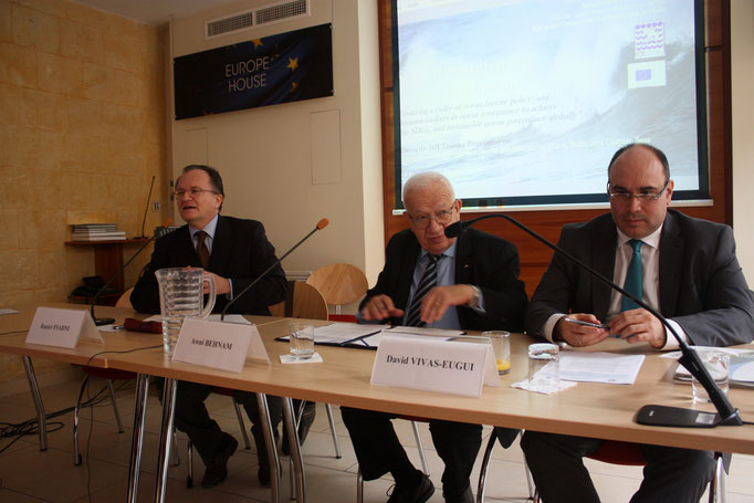 L-R:  Mr Ranier Fsadni, Dr Awni Behnam, Mr David Vivas-Eugui. Photo Credit: Florian Trinquand, Intern, IOI Malta