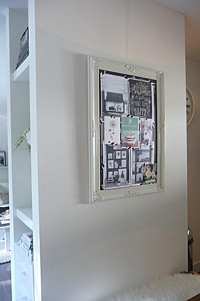 DIY: grote fotolijst als memobord gebruiken....