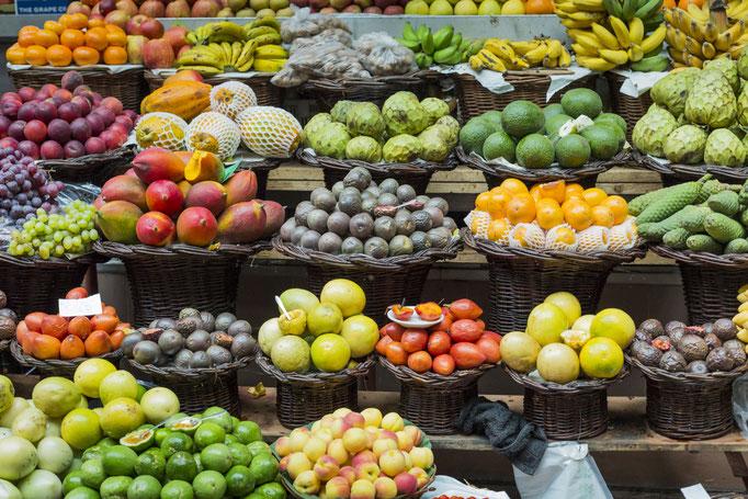 Fresh exotic fruits in Mercado Dos Lavradores. Funchal, Madeira Copyright Curioso