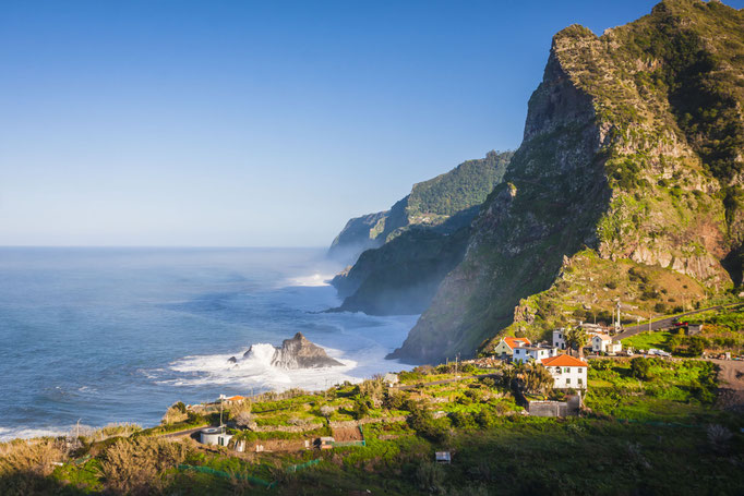 View of beautiful mountains and ocean on northern coast near Boaventura, Madeira island, Portugal Copyright  Anilah