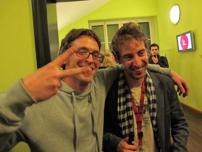 "Stefan Künzler, Regisseur ""Happy"", Bester Film, Filmschulentag  int. Kurzfilmtage Winterthur 2010  rechts: Stefan Eichenberger, Produzent"