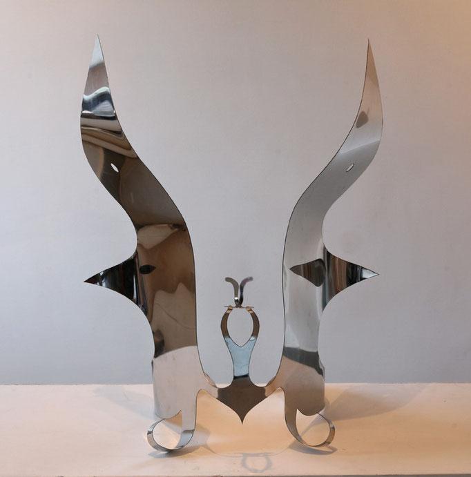 Spirit,  65x40cm,  Chomstahl gebogen,  3500 euro