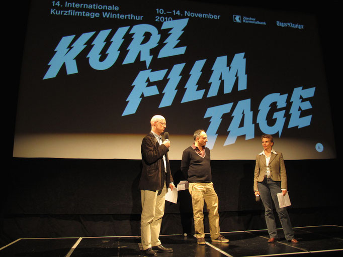 Preisverleihung int. Kurzfilmtage Winterthur   Filmschulentag: Michel Bodmer, Christoph Schaub und Susann Wach, Jury