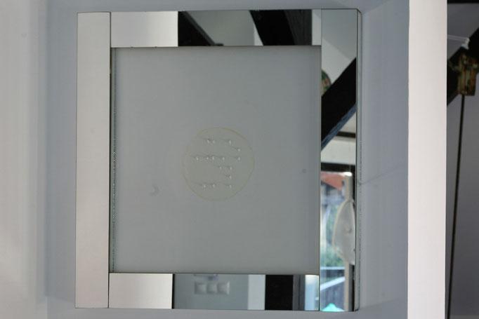 Dornenbild-braille,  53x54cm,  Rosendornen, Lack auf Holz-Spiegel,  3800 euro