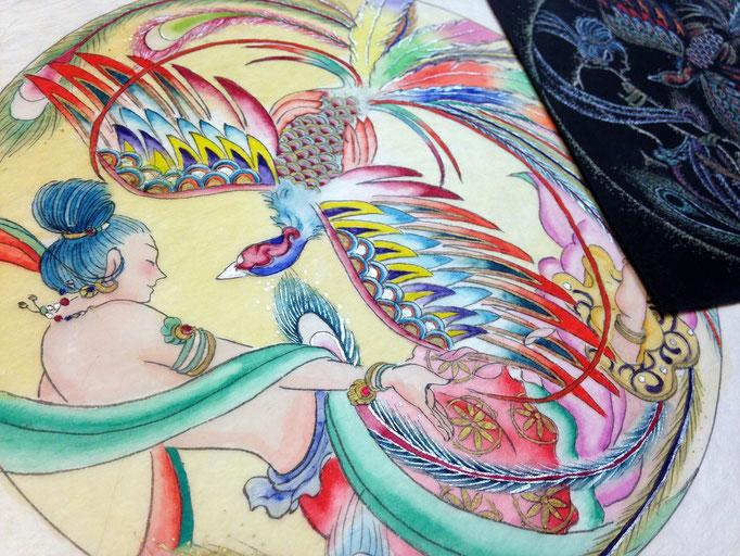 飛天鳳凰仏画