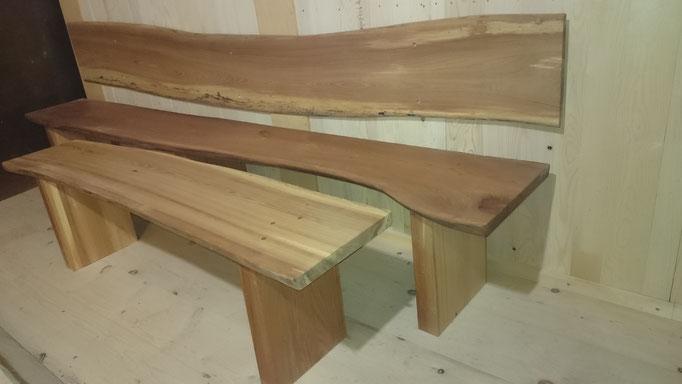 Sitzbank aus Rüster/Ulme, Oberfläche fein geschliffen und geölt