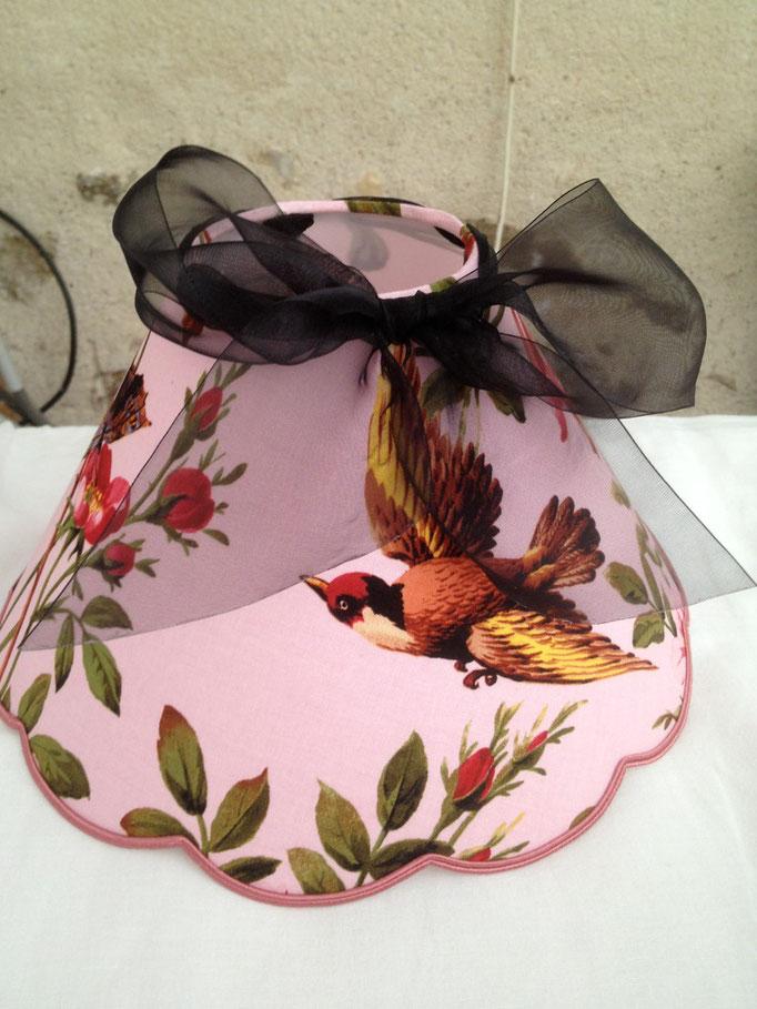 fabriqué en france, noeud organdi, oiseau, fleurs rose,lampshade