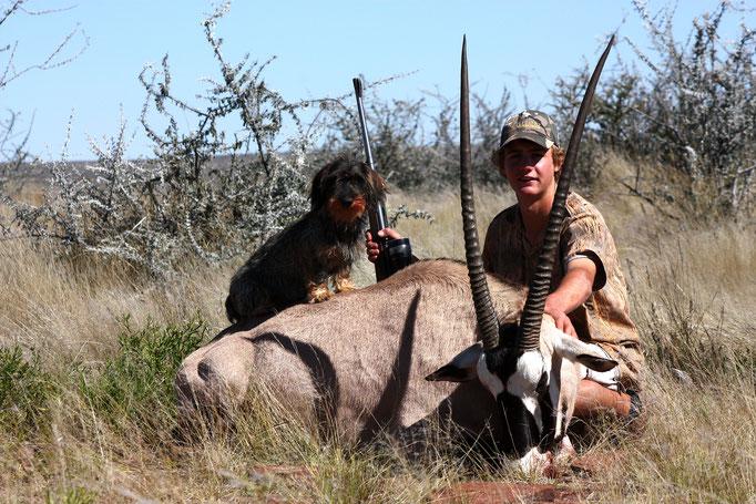 Der Rauhaardackel Leo ist auch immer mit dabei und ein guter Kamerad auf der Jagd. Er freut sich immer wenn Jäger vor Ort sind, da die Jagd bei ihm nie ein Ende hat.