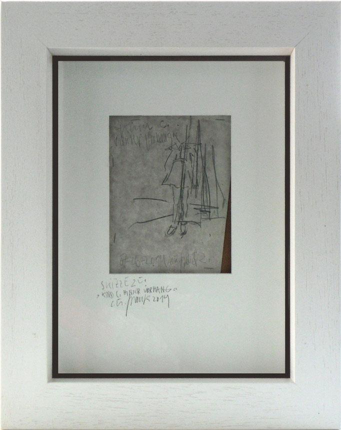 """tOG Nr. C.U.F. 058 - Künstler C.U. FRANK - Werk Titel """"Kind hinter dem Vorhang"""", 50x40x5cm mit weißen Holzrahmen, Bleistift aus Japanpapier, 2001-2005 von 2014  (c) tOG-Düsseldorf"""