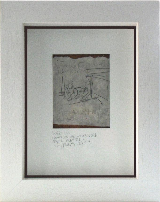 """tOG Nr. C.U.F. 060 - Künstler C.U. FRANK - Werk Titel """"Vorzeichnung - Brüderchen und Schwsterchen unter dem Klavier"""", 50x40x5cm mit weißen Holzrahmen, Bleistift aus Japanpapier, 2001-2005 von 2014  (c) tOG-Düsseldorf"""