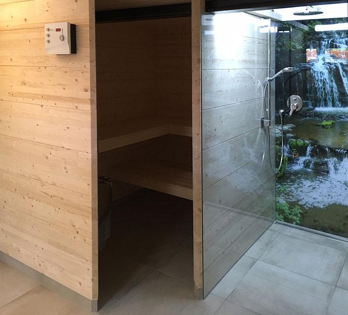 Sauna mit Duschkabine Innenausbau Jochen Katz Seckenheim