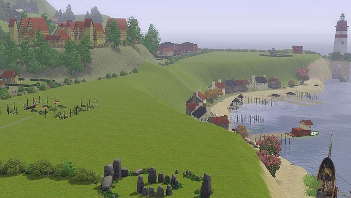 Blick vom Steinkreis auf die Stadt und den Hafen