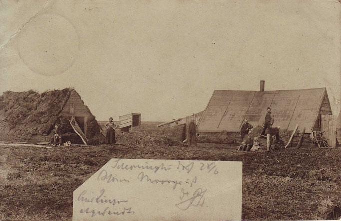 Alte AK/ Echtfoto, gelaufen 29.06.1899,  zeigt Moorbauernfamilie in Schöninghsdorf
