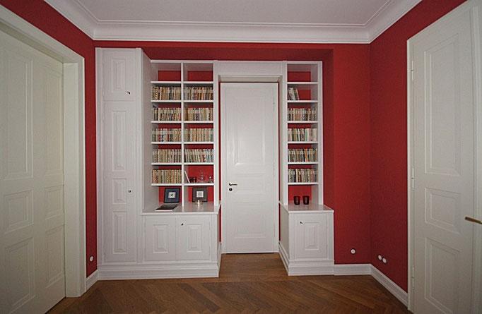 Kompletter Ausbau, Bibliothek, Zimmertüren in Strichlack