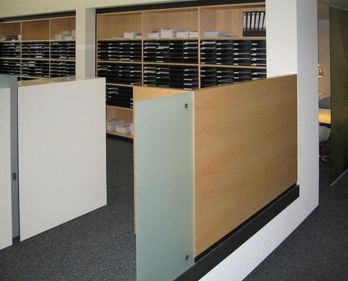 Büroausbau Einbauregal für Formularablage