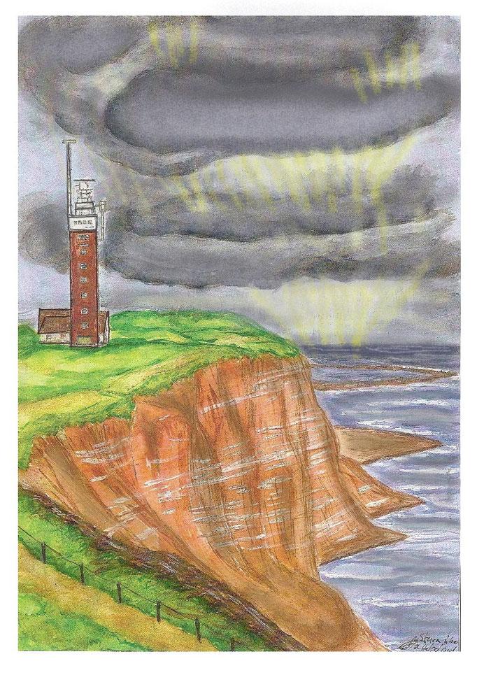 2.9.-Sturmwolken vor Helgoland-Aquarell + CADD-Bearb.  /   220.- € (Leinwanddruck)