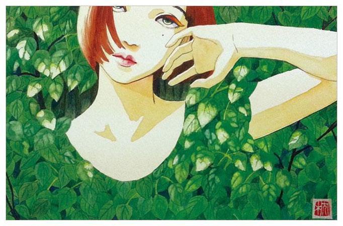 青葉闇2014 222×140mm MUSE KENAF PAPER Water color(顔彩),Acryl gouache