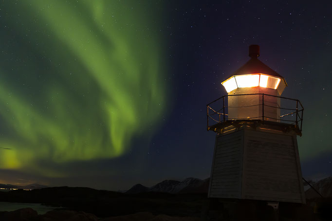 Dancing lights at Laukvik lighthouse