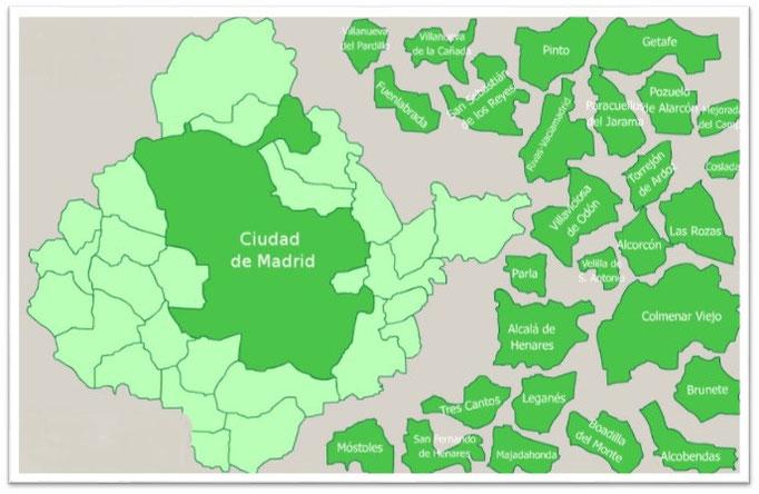 Madrid, un puzzle de Área metropolitana por Enrique Alonso.