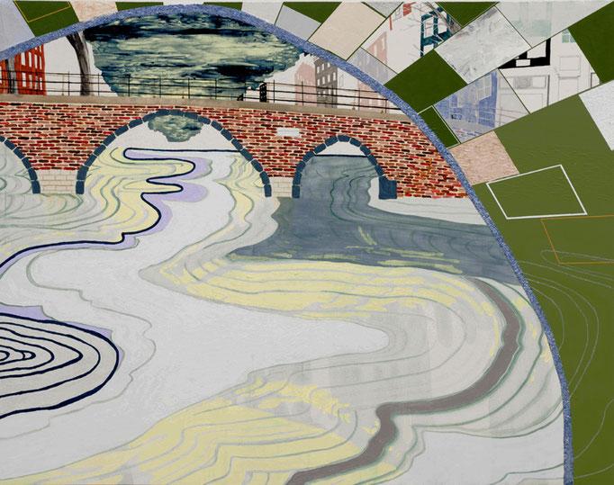 水路から見る街,オランダ,2011/1100×1400mm/綿布に油彩、アクリル絵具、牡蠣殻、水晶/2014-2016/撮影:怡土鉄夫
