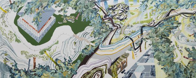 獅子吼の庭Ⅱ,2015/1300×3240mm/綿布にアクリル絵具、鉛筆、水晶、パステル、色鉛筆/2016/撮影:怡土鉄夫