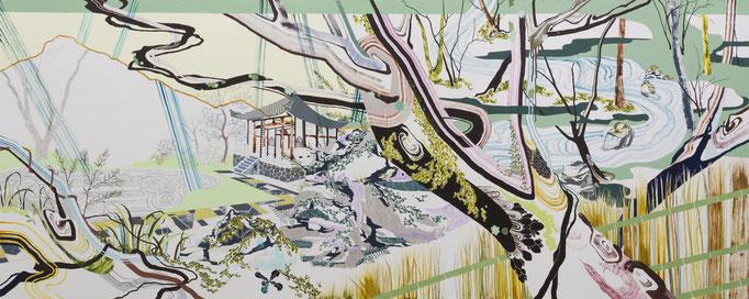 獅子吼の庭Ⅰ,2015/1300×3240mm/綿布にアクリル絵具、鉛筆、水晶、パステル、色鉛筆/2016/撮影:怡土鉄夫