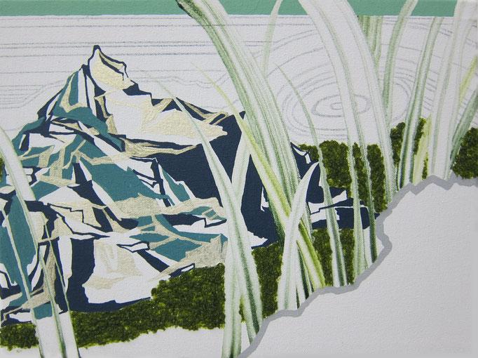 葉の隙間から見る庭石、2015/300×400mm/綿布にアクリル絵具、色鉛筆、水晶/2016/撮影:怡土鉄夫