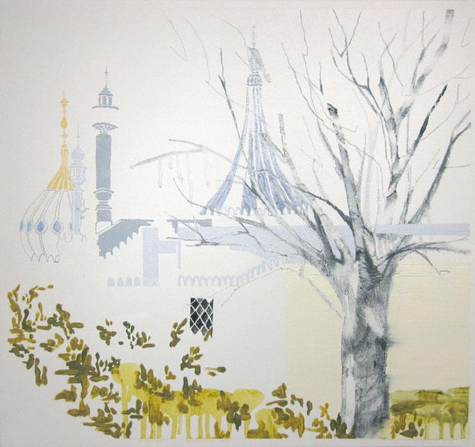 The royal pavilion/450×450mm/綿布に油彩と鉛筆/2012/撮影:怡土鉄夫