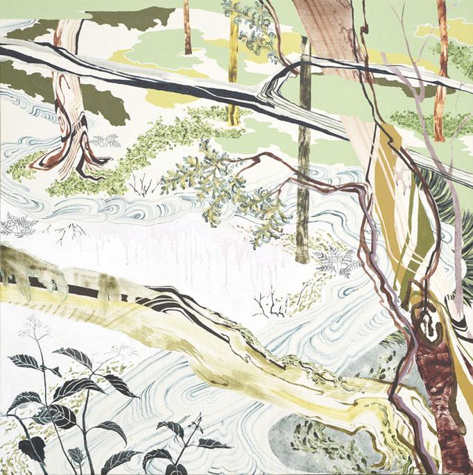 森、2013/1100×1100mm/綿布にアクリル絵具,、水晶、油彩、塩/2015/撮影:怡土鉄夫