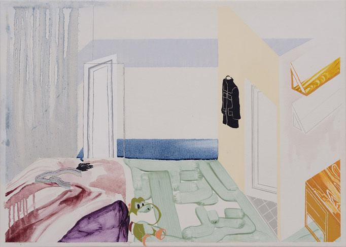 His room/500×700mm/綿布に油彩と鉛筆/2012/撮影:怡土鉄夫